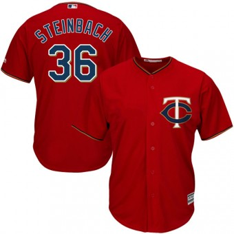 Replica Minnesota Twins Terry Steinbach Majestic Cool Base Alternate Jersey - Scarlet